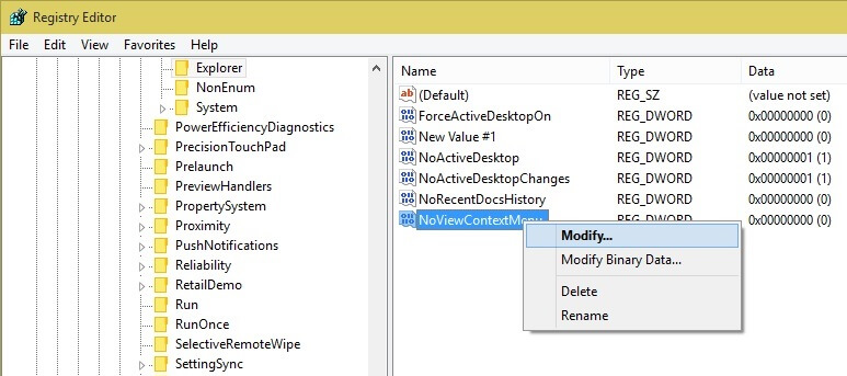 Modify registry Entry