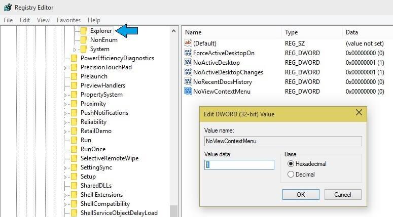 disable right click windows 7 regedit
