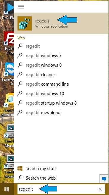 Start menu - regedit option