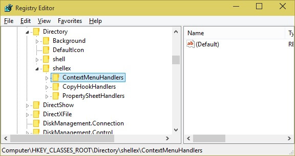 Context Menu option in registry